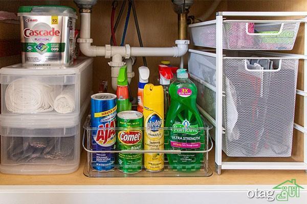 چیدمان کابینت زیر سینک ظرفشویی؛ ایده هایی برای نظم دهی به کابینت زیر سینک